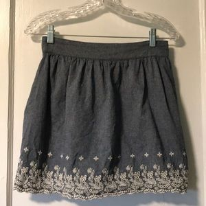 Forever 21 chambray skirt with floral embroidery